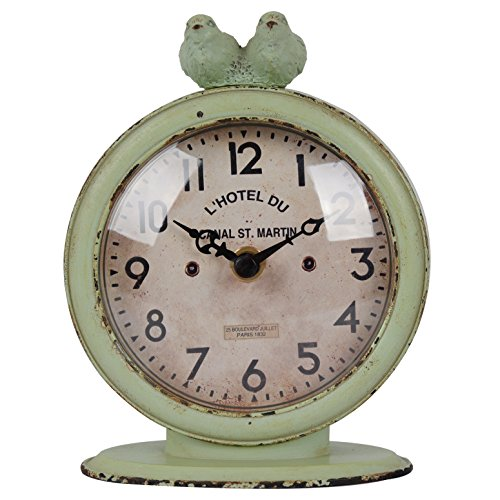 NIKKY HOME Shabby Chic Pewter Round Quartz Table Clock with 2 Birds, 4.75 x 2.5 x 6.12 Inches, Green