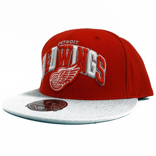 (Detroit Red Wings Mitchell & Ness Arch Vintage Logo Tri-Pop Fitted Hat (7 1/4))