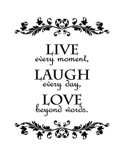 Live Every Moment, Laugh Every Day, Love Beyond Words Wall Quote Decal Sticker Art Décor