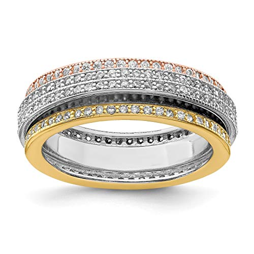 925 Sterling Silver Tri Color Yellow White Gold Eternity Motion Band Ring Size 6.00 Fine Jewelry For Women Gift Set ()