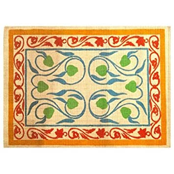 Imports Decor Natural Jute Rug With Latex Backing, Artistic Design, 24 Inch  By
