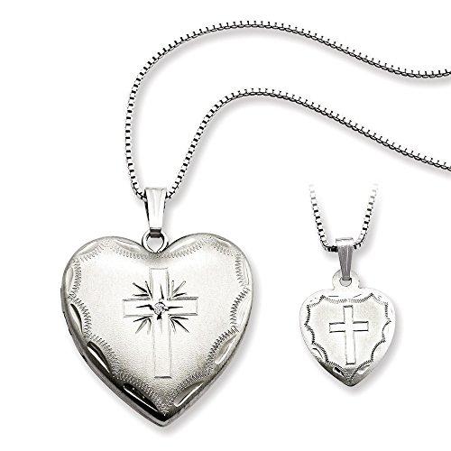 Sterling Silver Diamond Cross Heart Locket and Pendant Set ()