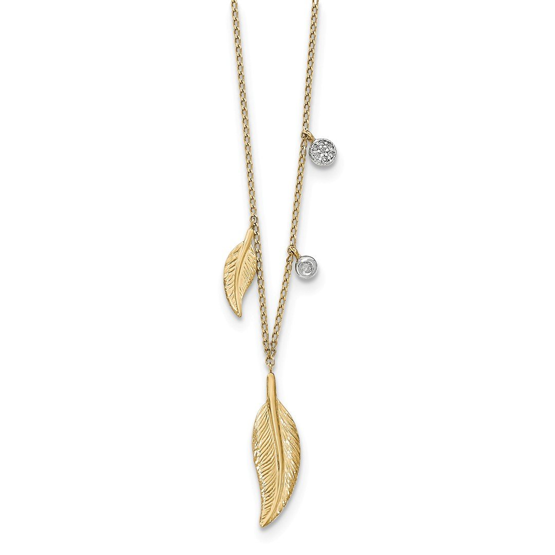 ICE CARATS 14k Yellow Gold Diamond Feathers Chain Necklace Fine Jewelry Gift Set For Women Heart