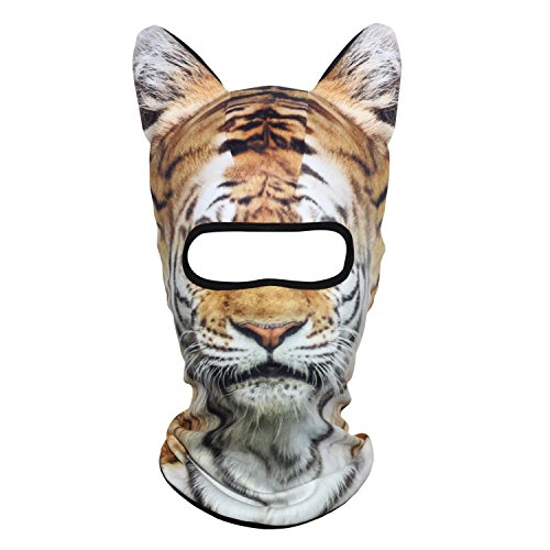 AXBXCX 3D Animal Ears Fleece Thermal Neck Warmer Windproof Hood Cover Face Mask Protection for Ski Snowboard Snowmobile Halloween Winter Cold Weather Tiger MDD-14 (Ltd Bindings)