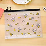 FIged Pencil Case, Transparent Eggs Printing Pencil Bag Makeup Box Zipper Pencilcase Brush Holder Portable Supplies Students Stationery