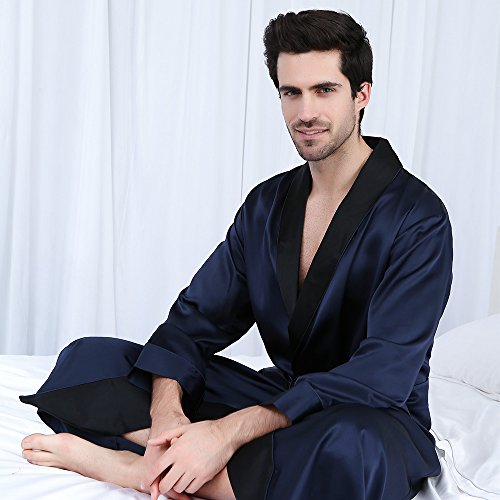 080d80652fc96 LilySilk Silk Robe Men Black Collar 22 Momme 100% Pure Mulberry Lounge Wear  Luxury Vintage