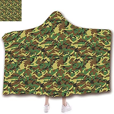 Fashion Blanket Ancient China Decorations Blanket Wearable Hooded Blanket,Unisex Swaddle Blankets for Babies Newborn by,Abstract Army Force Hiding in Jungle,Dark Green,Adult Style Children Style