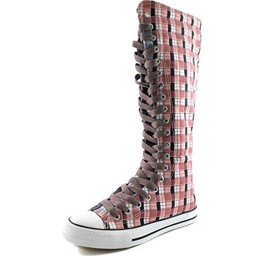Dailyshoes Damesschoenen Medium Kalf Lange Laarzen Casual Sneaker Punk Flat, Roze Wht Geruite Laarzen, Licht Bruin Kant