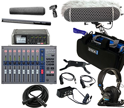Zoom F4 Field Recorder & Sennheiser MKH416 P48 Shotgun Mic Bundle with Zoom F-Control Mixing Surface, Orca OR-27 Mixer Bag, Rode Blimp Windshield Kit, Sony MDR7506 Headphones & XLR Cable