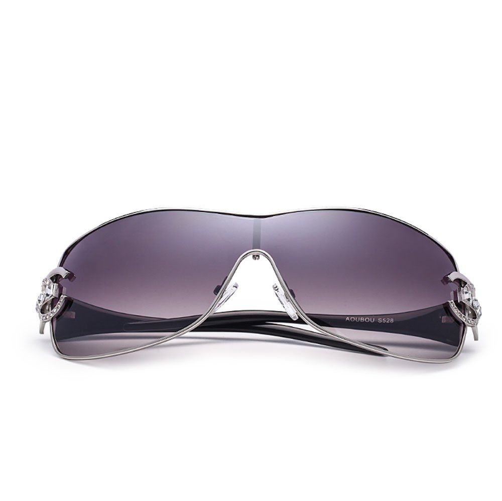 ZHANGYUQI Europäische und amerikanische Retro- Diamant-Sonnenbrille-Damen einteilige Schutzbrillenmetallsonnenbrille weiblich (Farbe : Gold) chTpDV
