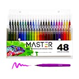 48 Color Master Markers Watercolor Soft Flexible Brush Tip Pens Set - Fine