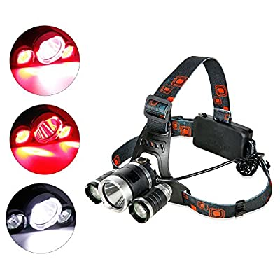 Headlamp Red Lighting LED Headlight 4 Modes , Hands-free Flashlight , Waterproof Head Light Lamp Torch for Camping Fishing Hiking Night Activities (Red Lighting Set)