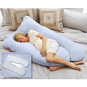 Today's Mom® Cozy Comfort Pregnancy Pillow and COOLMAX Replacement Cover, Sky Blue