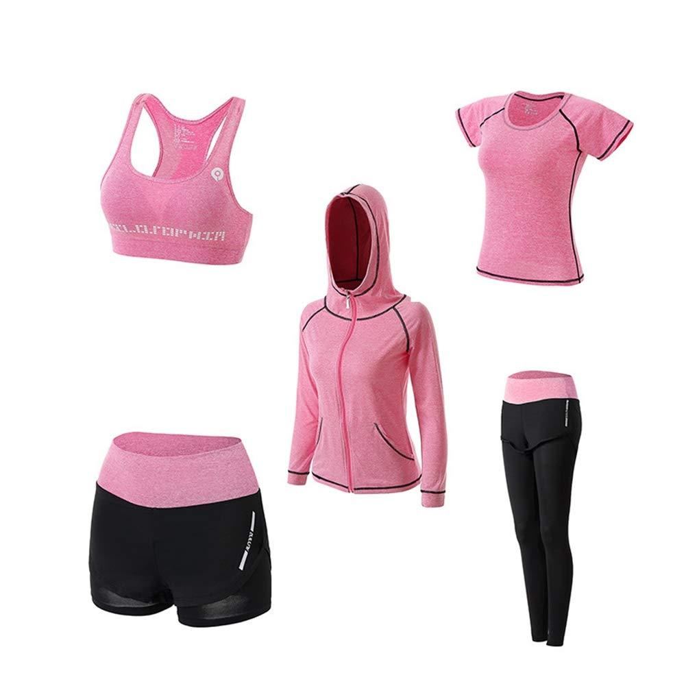 QIAO Damen Sommer Yoga tragen, Laufen schnell trocknende Kleidung, Sportbekleidung, hochelastische atmungsaktive, Outdoor Casual Sportbekleidung (schwarz/rosa/blau),Pink,XL