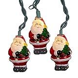 Kurt Adler UL 10-Light Santa with Tree Light Set, 3-Inch