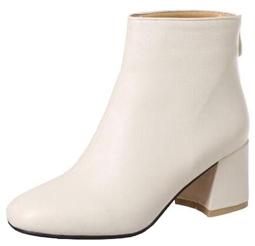 362ffe1725dd2 IDIFU Women's Fashion Round Toe Back Zipper Short Ankle Boots with Mid  Chunky Heels