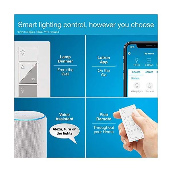 Lutron Caseta Wireless Single-Pole/3-Way Smart Lighting Lamp Dimmer and Remote Kit | P-PKG1P-WH-R | White 5