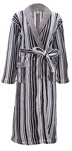 Mens Robe Plush Velvet Terry Shawl Collar Striped Kimono Bath Robe,Grey Stripe, One Size ()