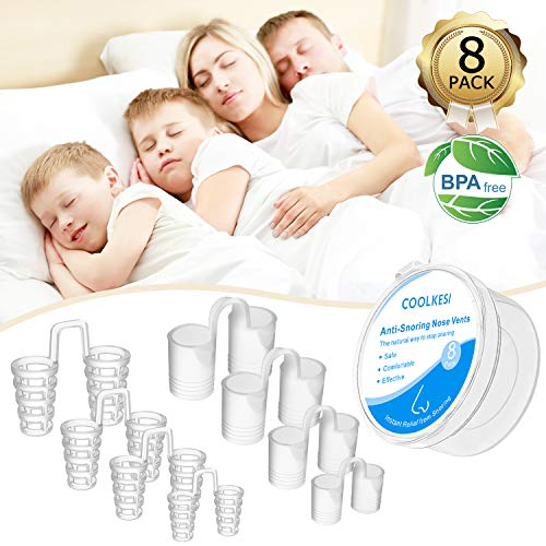 COOLKESI Anti Snoring Devices, Silicone Snore Stopper to Ease Breathing, Set of 8 Nose Vents as Snoring Solution, Comfortable & Effective Stop Snoring Sleep Aid Mute Nasal Dilators for Adult & Kids