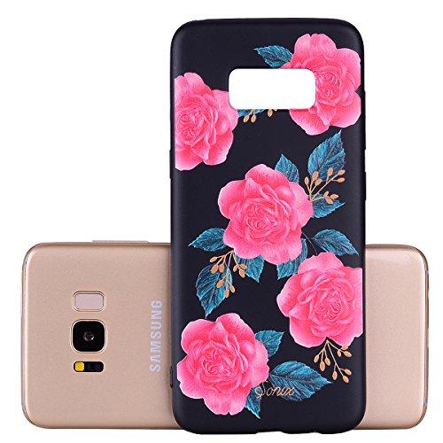 Funda Samsung Galaxy S8, EUWLY Negro Silicona Fundas para Samsung Galaxy S8 Goma Gel Suave TPU Cárcasa Caso con Pintura Dibujos Impresión En Relieve Patrón Bumper Case Cover Ultra Delgado Ligero Flexi Rose flores rosa