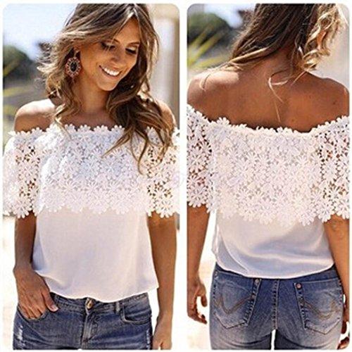 AIMTOPPY Sexy Women Off Shoulder Casual Tops Blouse Lace Crochet Chiffon Shirt (M)