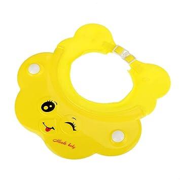 Socialme-eu Champú para Bebé Sombrero de baño Ajustable Gorro de Ducha Gorro de Lavado para Cabello Sombrero Ojo Protección de Oídos (Amarillo): Amazon.es: ...
