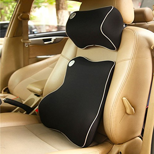 - LOCEN Memory Foam Car Lumbar Back Cushion & Neck Support Pillow Kit - Blue
