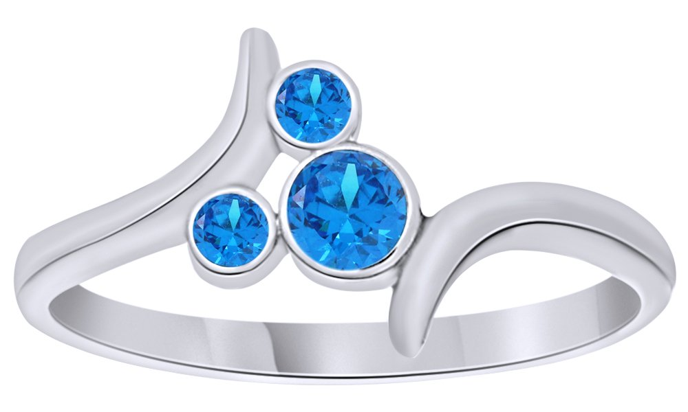 AFFY Simulated Blue Topaz Bypass Mickey Mouse Ring in 14k White Gold Over Sterling Silver