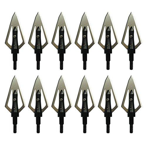 PA Black Steel Flat Broadheads 100 Grain Screwed Thread 0.9