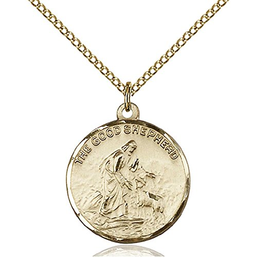Gold Filled Women's GOOD SHEPHERD Pendant - Includes 18 Inch Light Curb Chain - Deluxe Gift Box Included by Bonyak Jewelry Saint Medal Collection