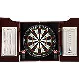 Viper Hudson All-in-One Dart Center: Classic Solid Wood Cabinet & Official Sisal/Bristle Dartboard Bundle: Elite Set (Razorback Dartboard, Darts and Laser Throw Line), Mahogany Finish