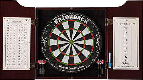 - Viper Hudson All-in-One Dart Center: Classic Solid Wood Cabinet & Official Sisal/Bristle Dartboard Bundle: Elite Set (Razorback Dartboard, Darts and Laser Throw Line), Mahogany Finish
