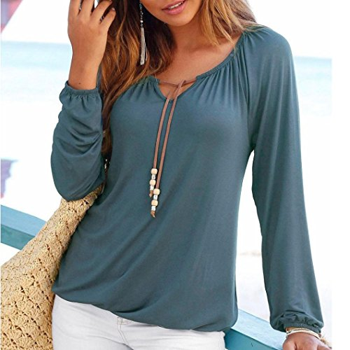 grandes mujer tops Azul manga larga cuello blusas bowknot tallas camisetas OverDose sólido para V 8xO7XEnw