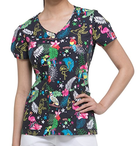 Dickies EDS Signature Women's V-Neck Tropical Print Scrub Top Small Print