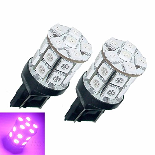 PA 2x 7443 7440 T20 W21w 20smd 5050 LED Stop Brake Light Bulb Purple + 2xResistors 50W