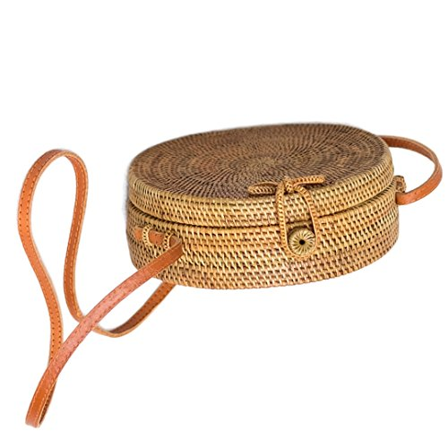 Bali Harvest Round Woven Ata Rattan Bag Linen Inside and Bow Clasp