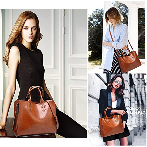Shoulder Pu Wax Women's Leather Vintage Tote Body Casual Shine New Kemosen Oil Satchel Brown Cross Bags fHxqwOw