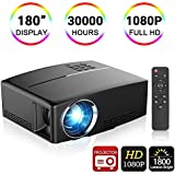 Video Projector,Weton 180 LED Portable Mini Movie Projector FHD 1080P Video Projector 1800 Lumens Multimedia Home Theater Projector for Cinema Movie Entertainment