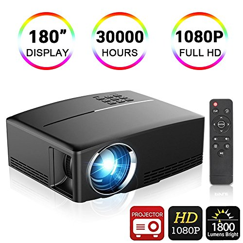 Video Projector,Weton 180'' LED Portable Mini Movie Projector FHD 1080P Video Projector 1800 Lumens Multimedia Home Theater Projector for Cinema Movie Entertainment by Weton