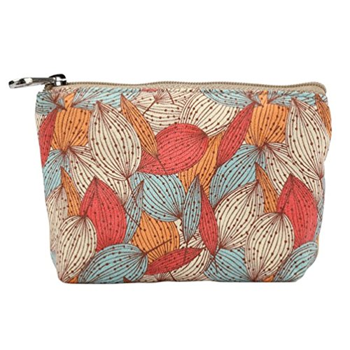Purse Women Purses Iron Coin Wallet Ladies Handbag Butterfly Zipper Wallet Canvas Cartoon Leaf Small wq8UB
