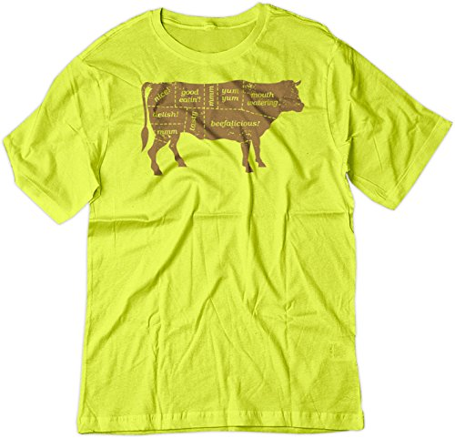 Price comparison product image BSW YOUTH Beef Labels BBQ Cuts Steak Sirloin Cow Theme Shirt XS Yellow