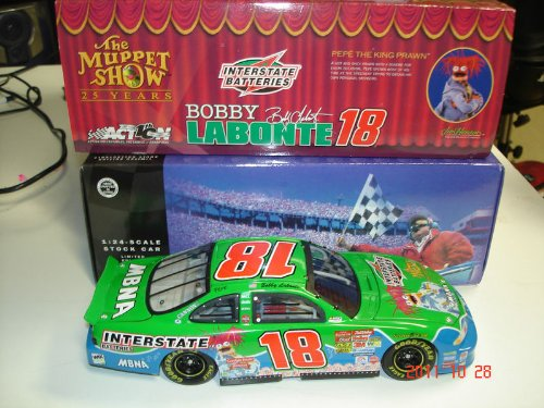 2002 Bobby Labonte Interstate Batteries Pepe Muppets 25th Anniversary Paint Scheme Dodge Intrepid R/T Action Racing 1/24 Scale Hood, Trunk Opens Limited Edition Action Racing Collectables ARC (Bobby Racing Labonte)