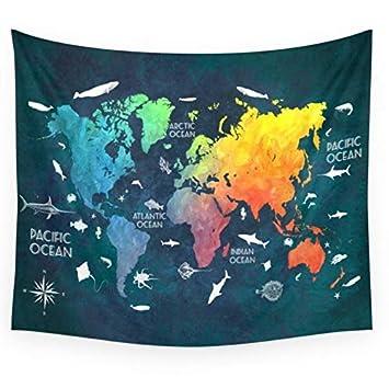 RDTFGYV Tapices Ocean World Map Color Tapicería De Pared Regalo De La Boda Colcha De Toalla De Playa Yoga Picnic Mat 130X150 Cm: Amazon.es: Hogar