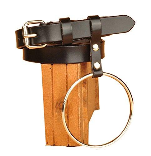Ilishop Fashion Iron Hoop Genuine Leather Belt Black Free