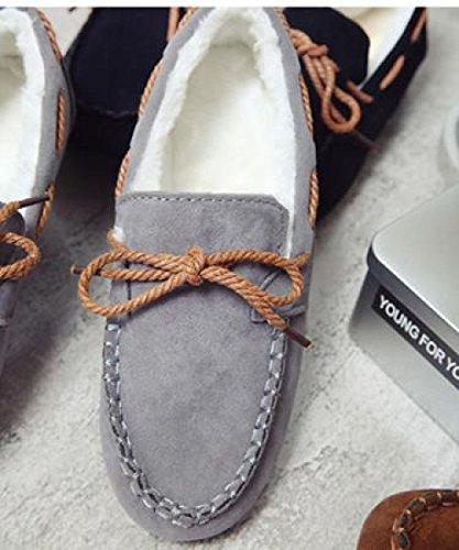 Pois Pieds Femmes Chaussures Plus Décoration Chaussures Plat Automne Bow Velours Brown Hiver Et Grey GUANG Mouth Chaussures Coton XING Accueil Chaud Shallow en U0w5xqnp