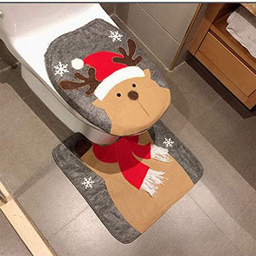 HESHIFENG. party & accessories Christmas Snowman Santa Deer Toilet Seat Cover and Rug Set Red Christmas Decorations Bathroom (Deer)