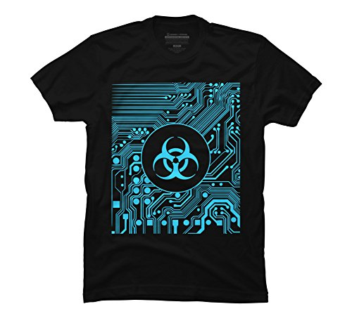 Cyber goth - Biohazard (Blue) Men's Medium Black Graphic T Shirt
