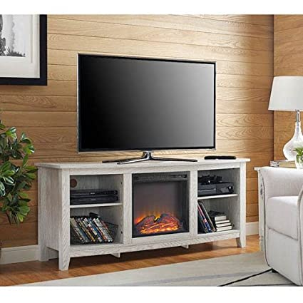 Amazon Com Fireplace Tv Stand In White Finish Kitchen Dining