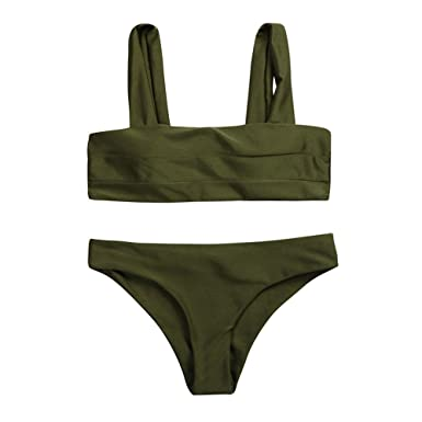 a50cedd6987 Leedford Women Wide Straps Padded Tankini Swim Top + Bottoms Bikini Set  Neck Swimsuit Army Green