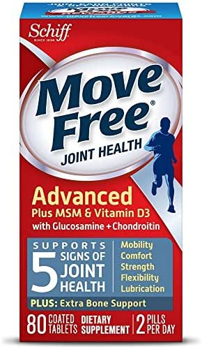 Move Free Advanced Plus MSM and Vitamin D3, 80 Tablets - Joint Health Supplement with Glucosamine and Chondroitin (Pack of 12)